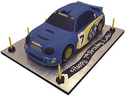 3d Rally Car Blue Celebration Birthday Cake 18th Cake