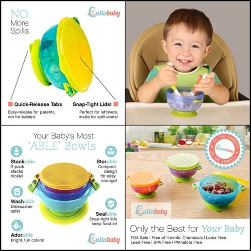 Bowls & Plates Bright New Set Of 3 Feeding Bowls With Lid For Babies And Toddlers Bpa Free