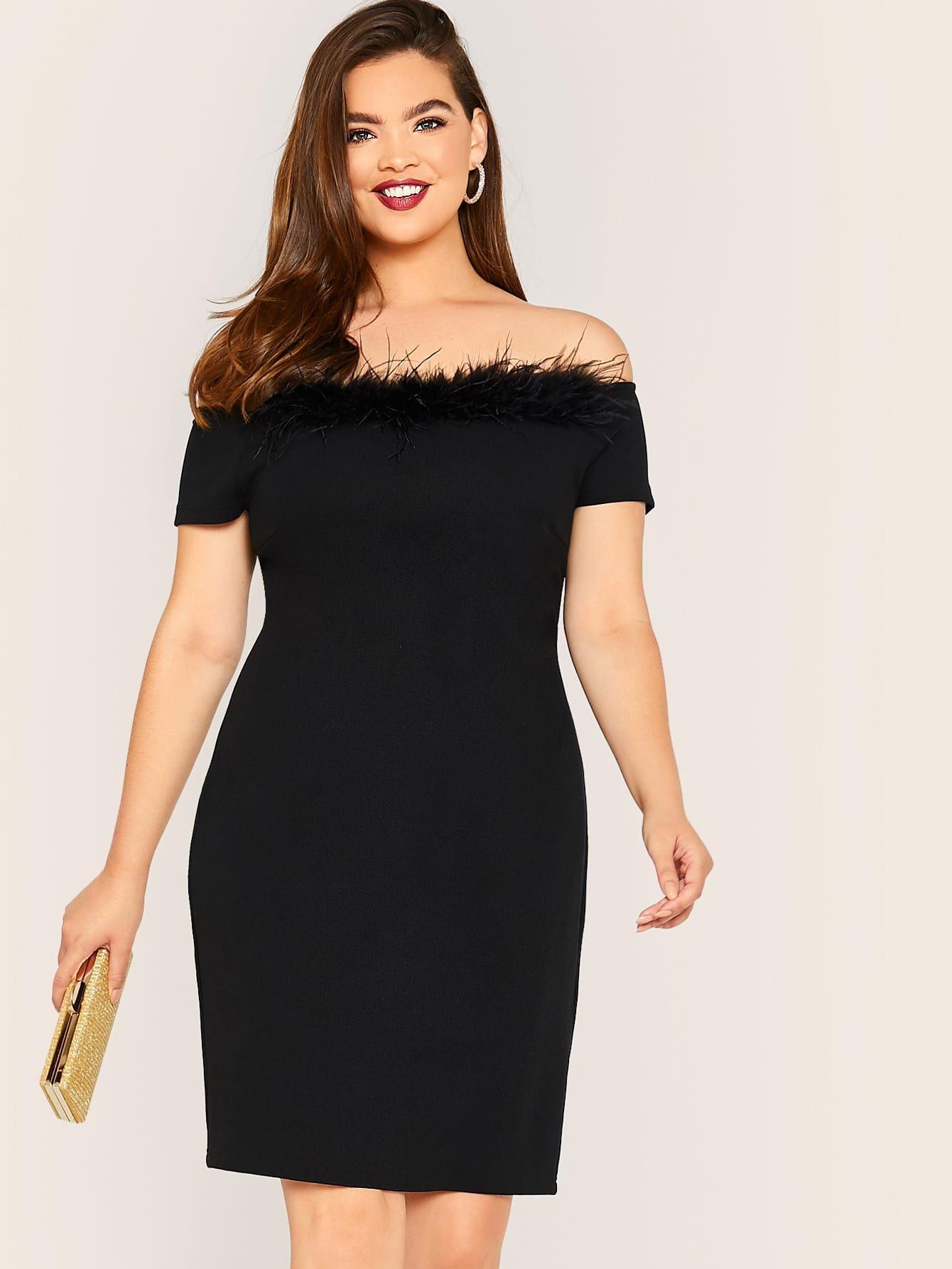 Vestido Lapiz De Hombros Descubiertos Con Diseno De Pluma Grande Vestidos Tallas Grandes Mujer Ofertas Vestidos Vestidos De Talla Grande Vestido Lapiz