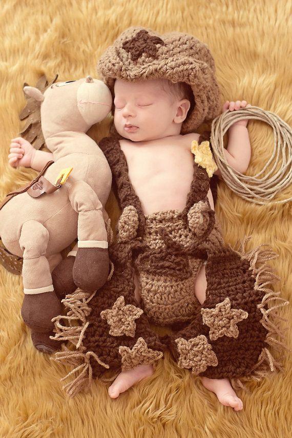 e52043c8a Cowboy Outfit - Crochet Cowboy Chaps, Diaper Cover, and Cowboy Hat - Photography  Prop - (24 MONTHS SIZE)
