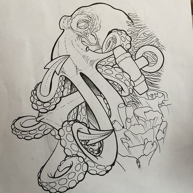 Black Outline Pirate Octopus With Anchor Tattoo Design ...
