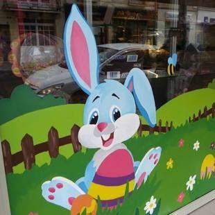 D coration vitrine de p ques boulangerie p tisserie peinture sur vitrine pinterest - Decoration paques vitrine ...