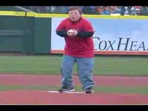 """James Big Day"" when James got to throw out the first pitch to Albert Pulholz!"