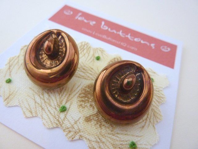 2 x Vintage Glass Buttons With Bronze Finish - in the style of Bimini £7.00