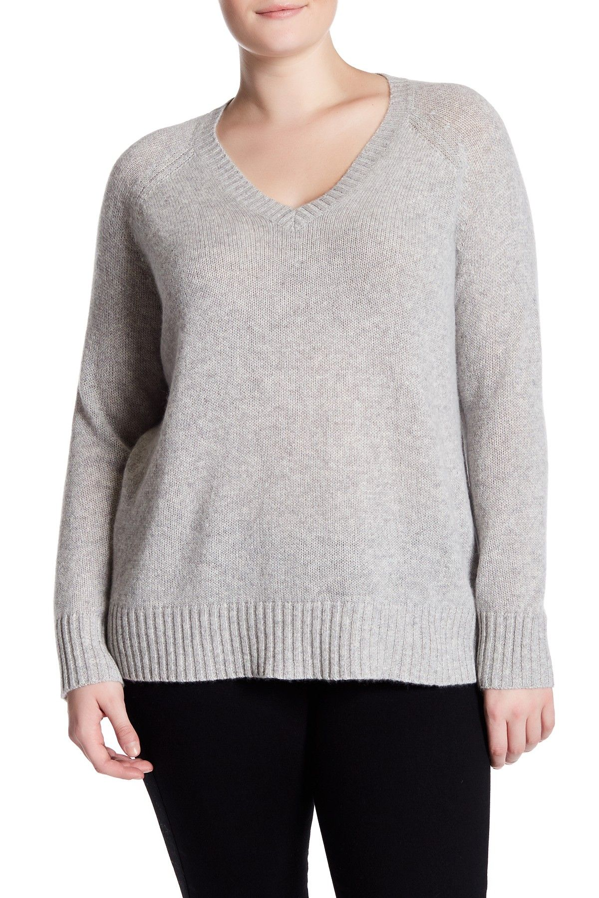Whitney V Neck Cashmere Sweater Plus Size Products Cashmere