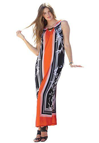 Roamans Women's Plus Size Mirror Print Maxi Dress - http://plussizedesi.com/p/roamans-womens-plus-size-mirror-print-maxi-dress/  #plussize #plussizewomen #plussizeclothing #plus_size_clothing @plussizedesi