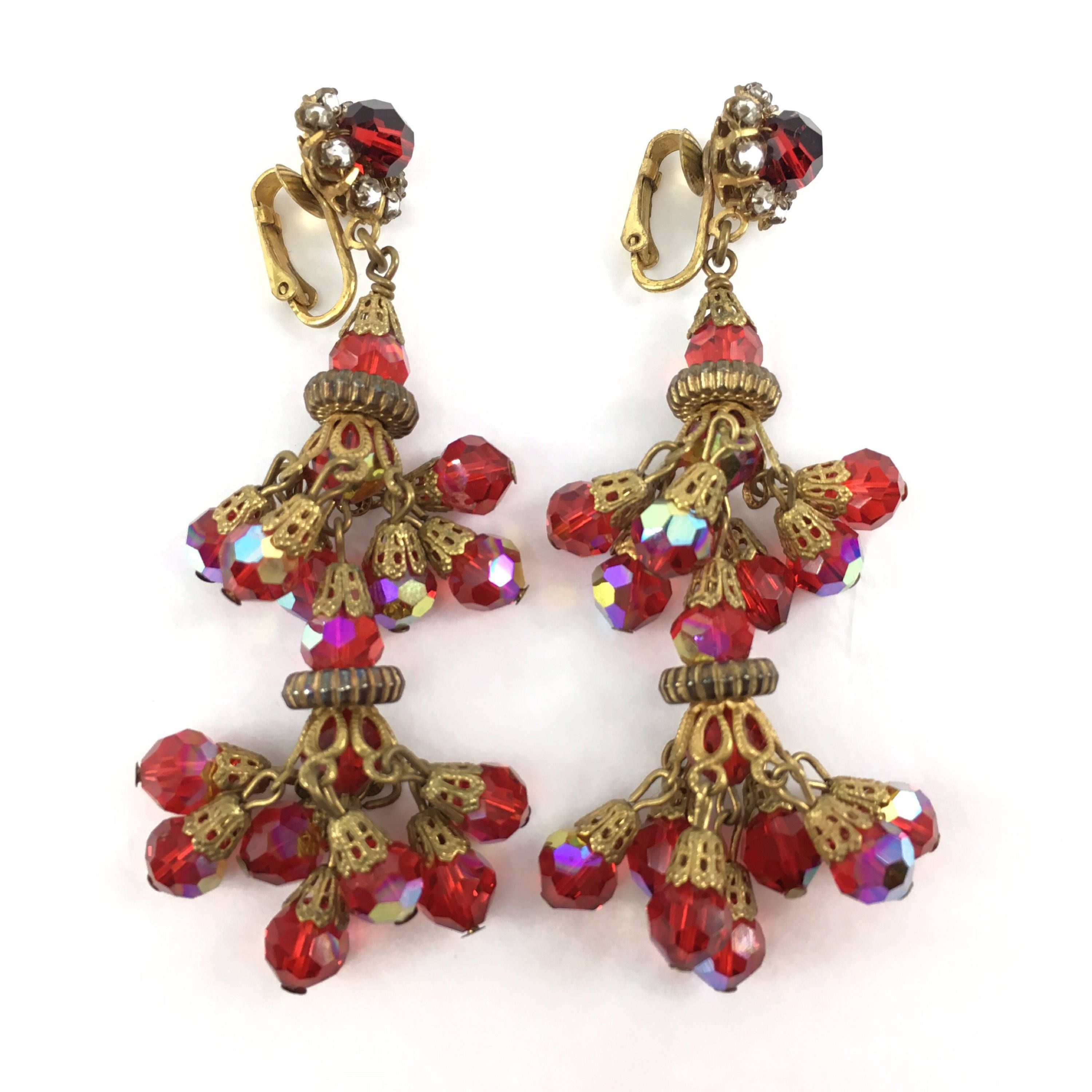 Red and Gold Chandelier Earrings, Haskell Style, Vintage
