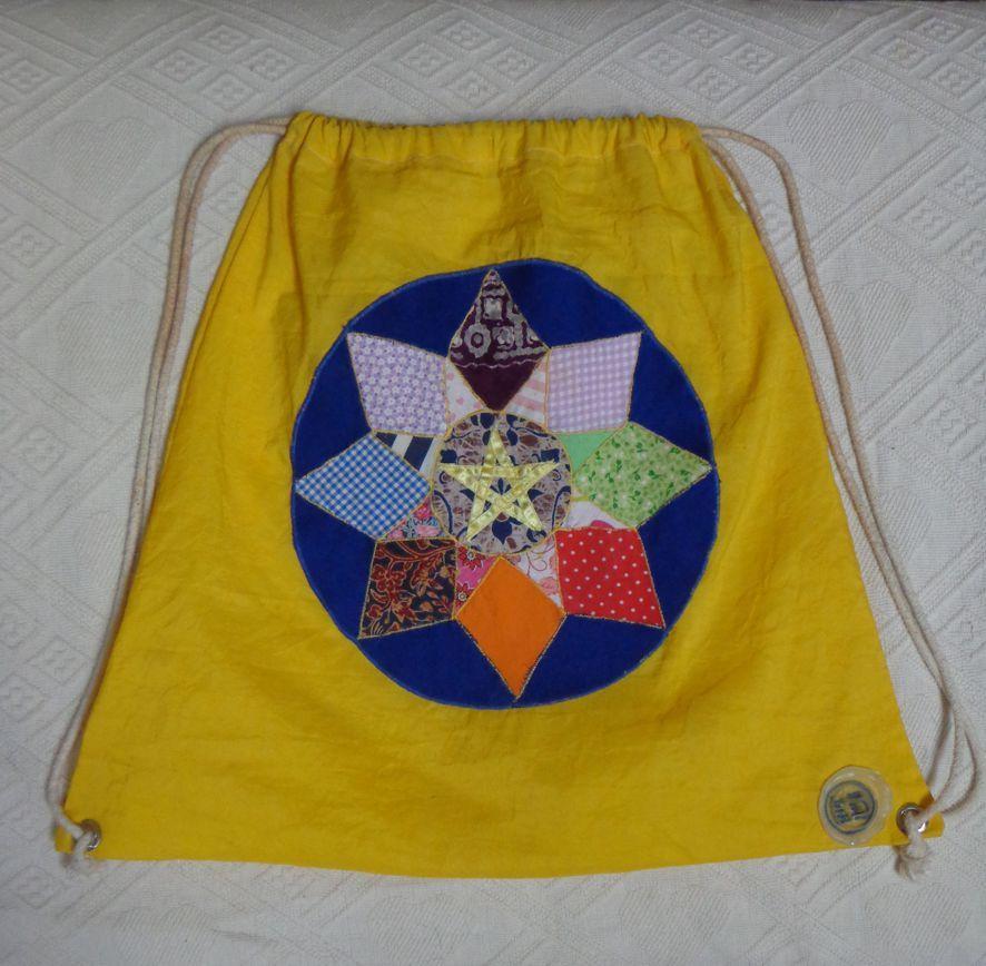 bolsa de nylon com mandala de retalhos