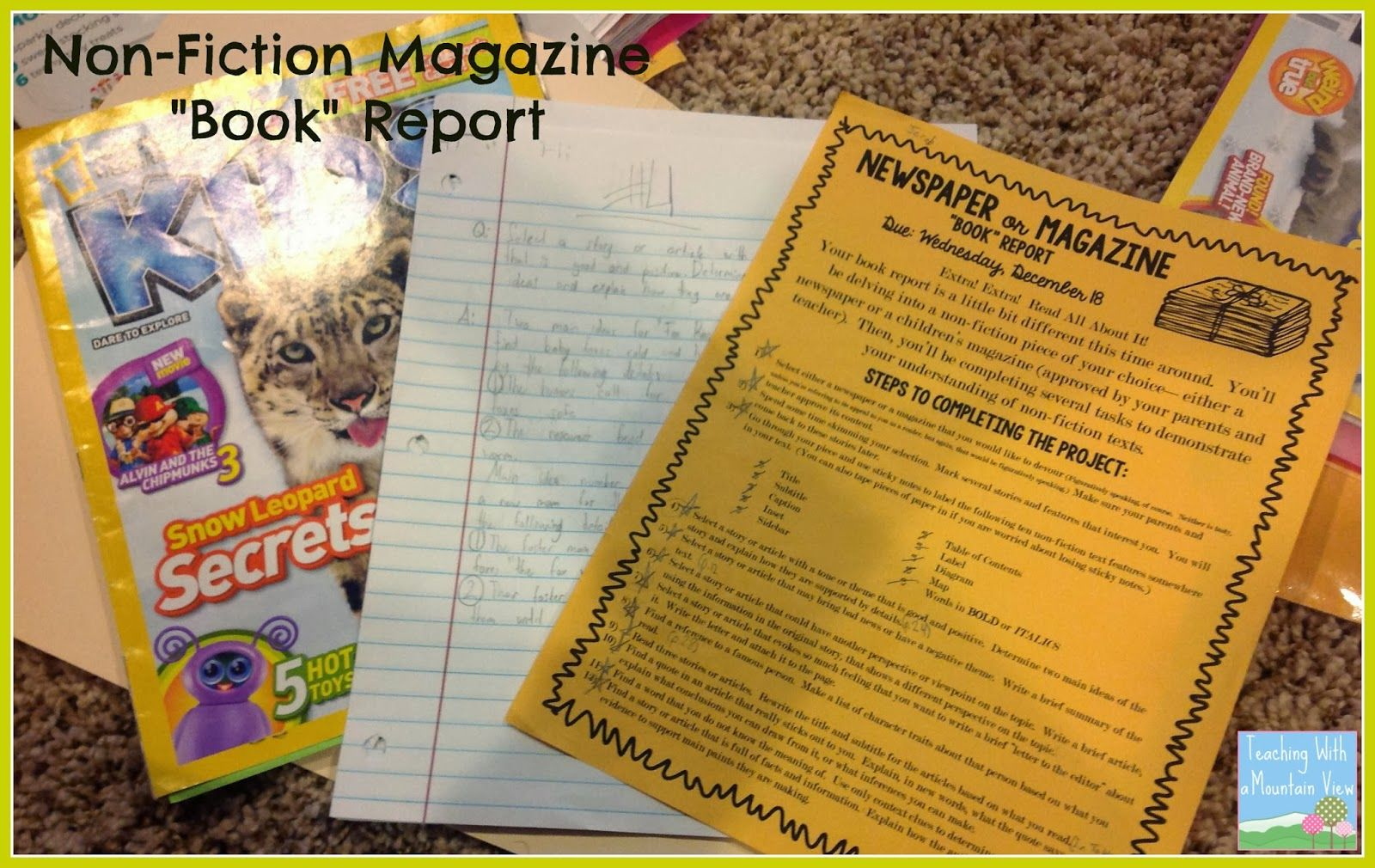 Non Fiction Newspaper Or Magazine Book Report