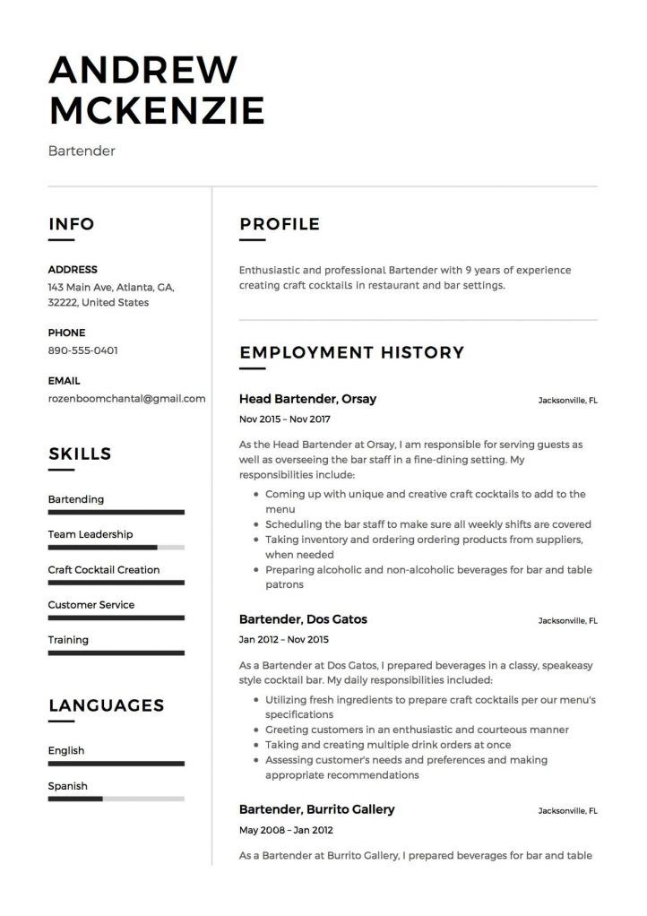 Bartender Resume Check more at   cleverhippoorg/bartender