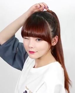 Cute Asian Korean Style Pony Tail For Long Hair Tutorial Girls