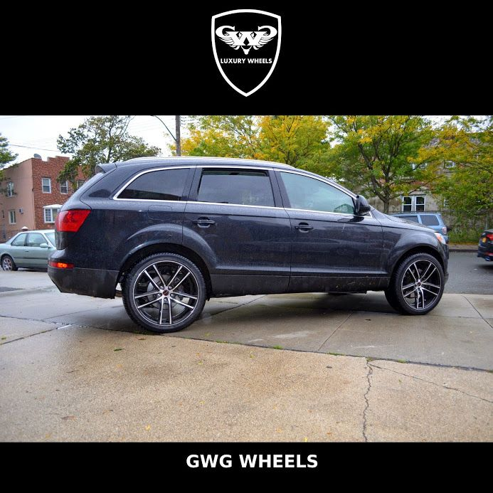 AUDI #Q7 with Set of 4 GWG #WHEELS ZERO #BLACK WITH MACHINED