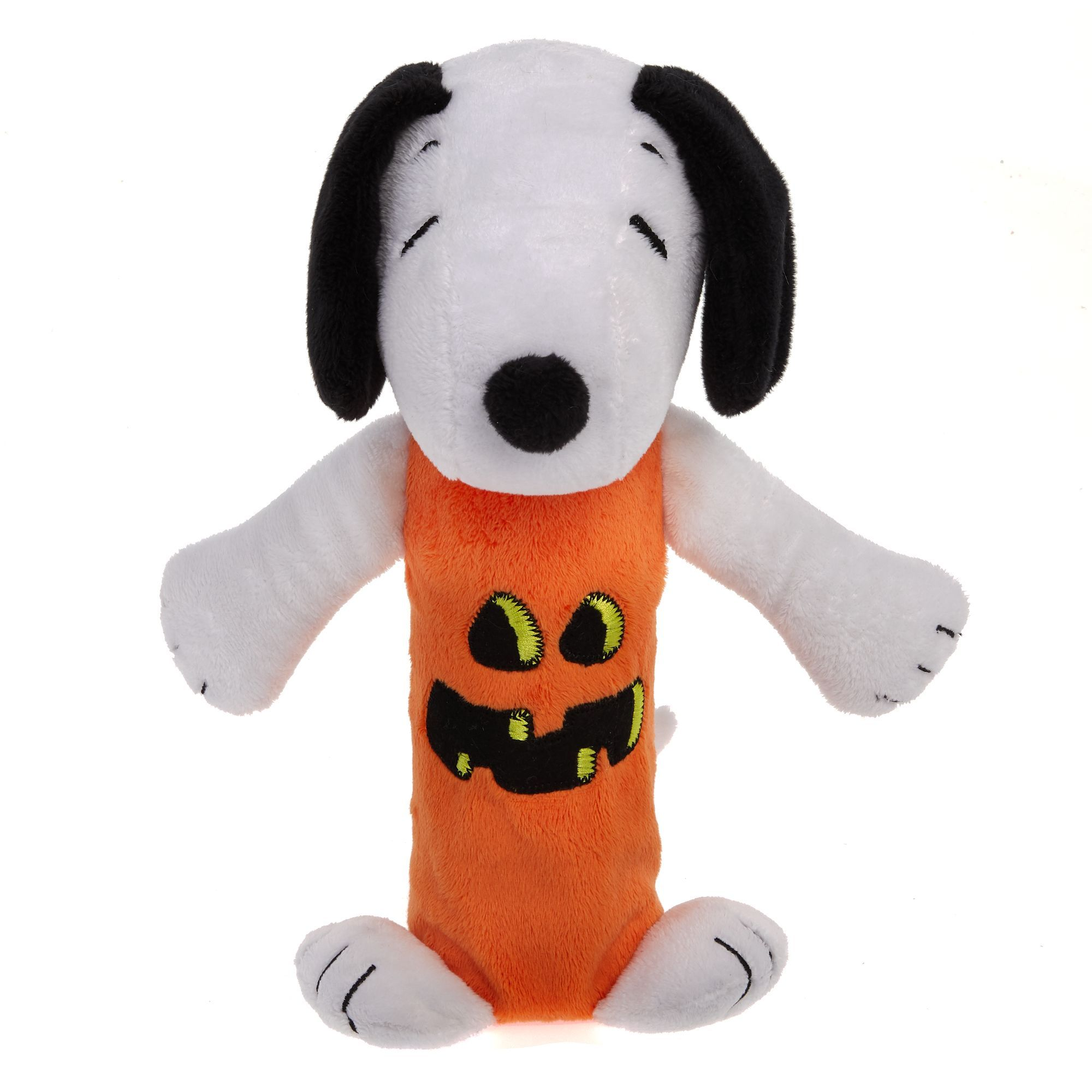 Peanuts Halloween Snoopy Pumpkin Bottle Crunch Dog Toy Plush