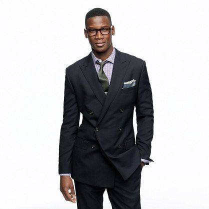 Ludlow double-breasted peak lapel blazer with double-vented back in Italian wool