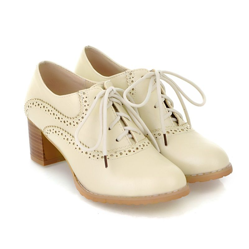 brogue womens oxford lace up wing tip retro mid chunky
