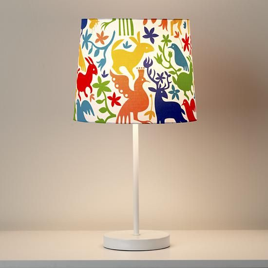 Baby S Nursery Lamp Shade The Land Of Nod Kids Lighting Colorful Animal Otomi Mexican In Table Lamps