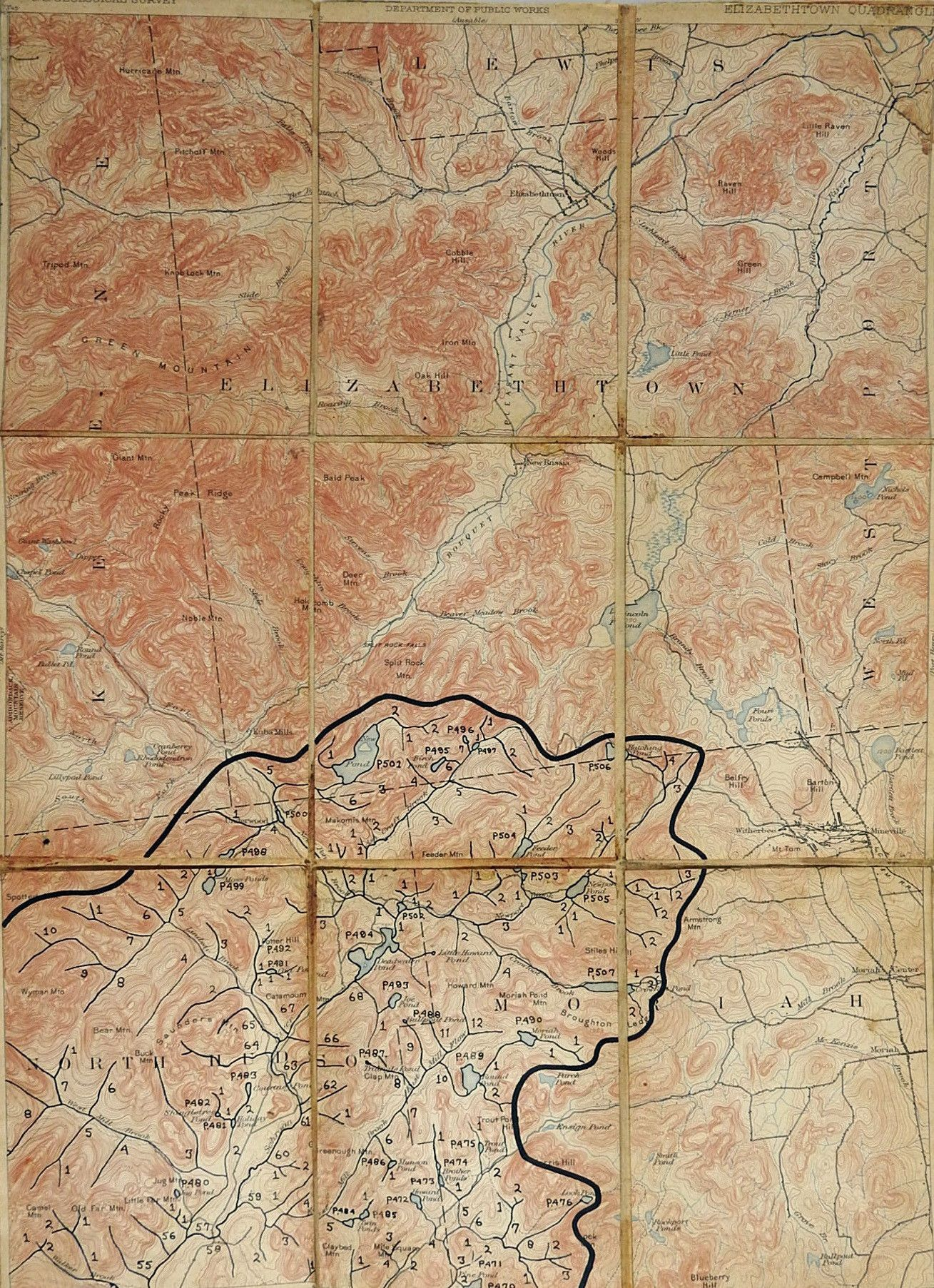 Engraved Elizabethtown NY 1894 Folding Map