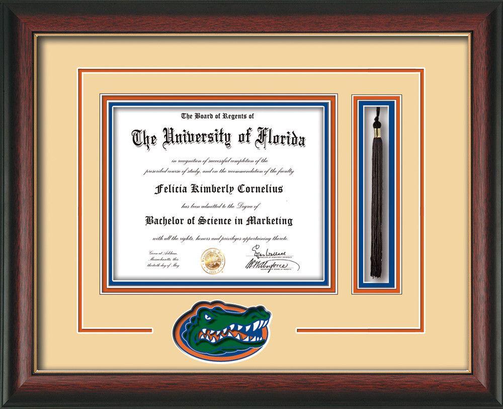 university of florida diploma frame rosewood wgold lip 3d laser uf gator head logo cutout tassel holder cream on orange on royal blue mat - Diploma Frames With Tassel Holder