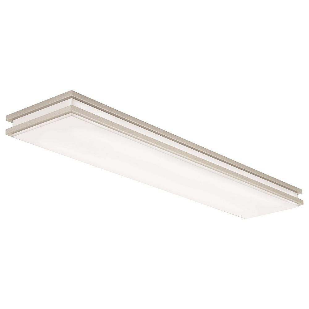 A Modern Upgrade From The Flat Fluorescent Lights Of Decades Past The Saturn Led Linear Flushmount By L Kitchen Led Lighting Led Flush Mount Lithonia Lighting