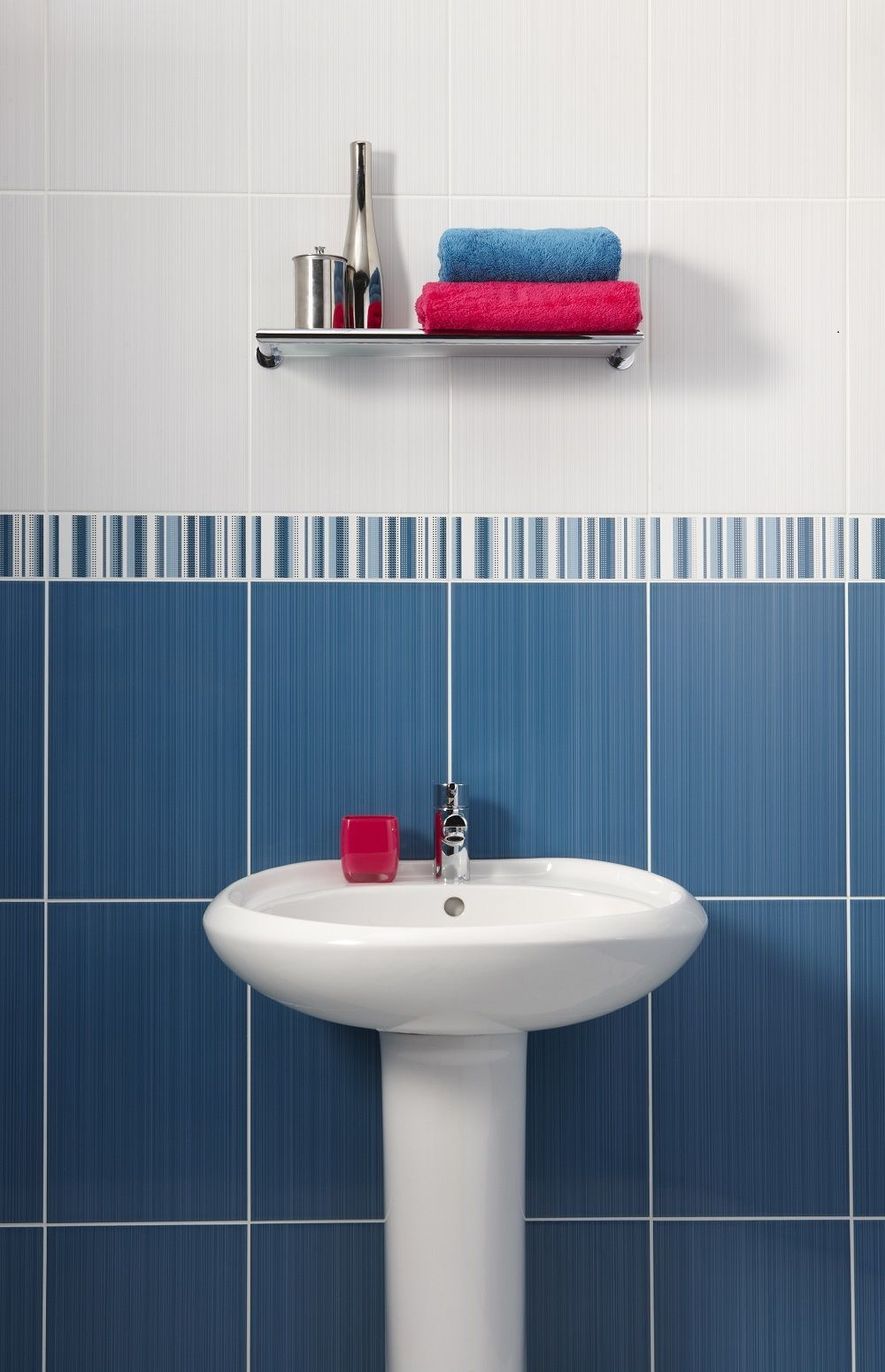 Brighton Blue 24.8x39.8cm gloss wall tile by British Ceramic Tiles ...