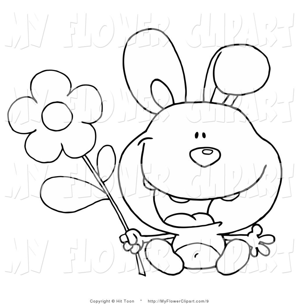 Clip Art Of Black And White Coloring Page Happy Bunny