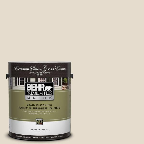 BEHR Premium Plus Ultra Home Decorators Collection 1 Gal. #HDC CT 05 Pale  Palomino Semi Gloss Enamel Exterior Paint