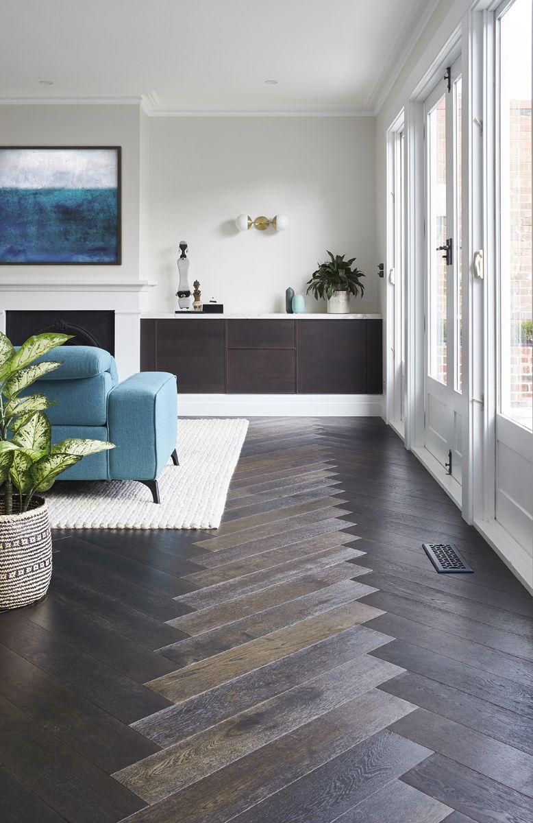 Brown Black Herringbone Dark Wooden Floor Living Room