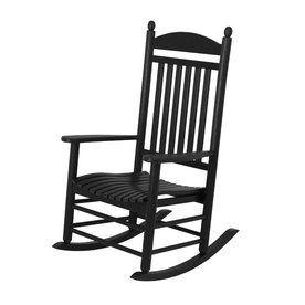 Superbe Polywood Jefferson Black Plastic Patio Rocking Chair J147bl