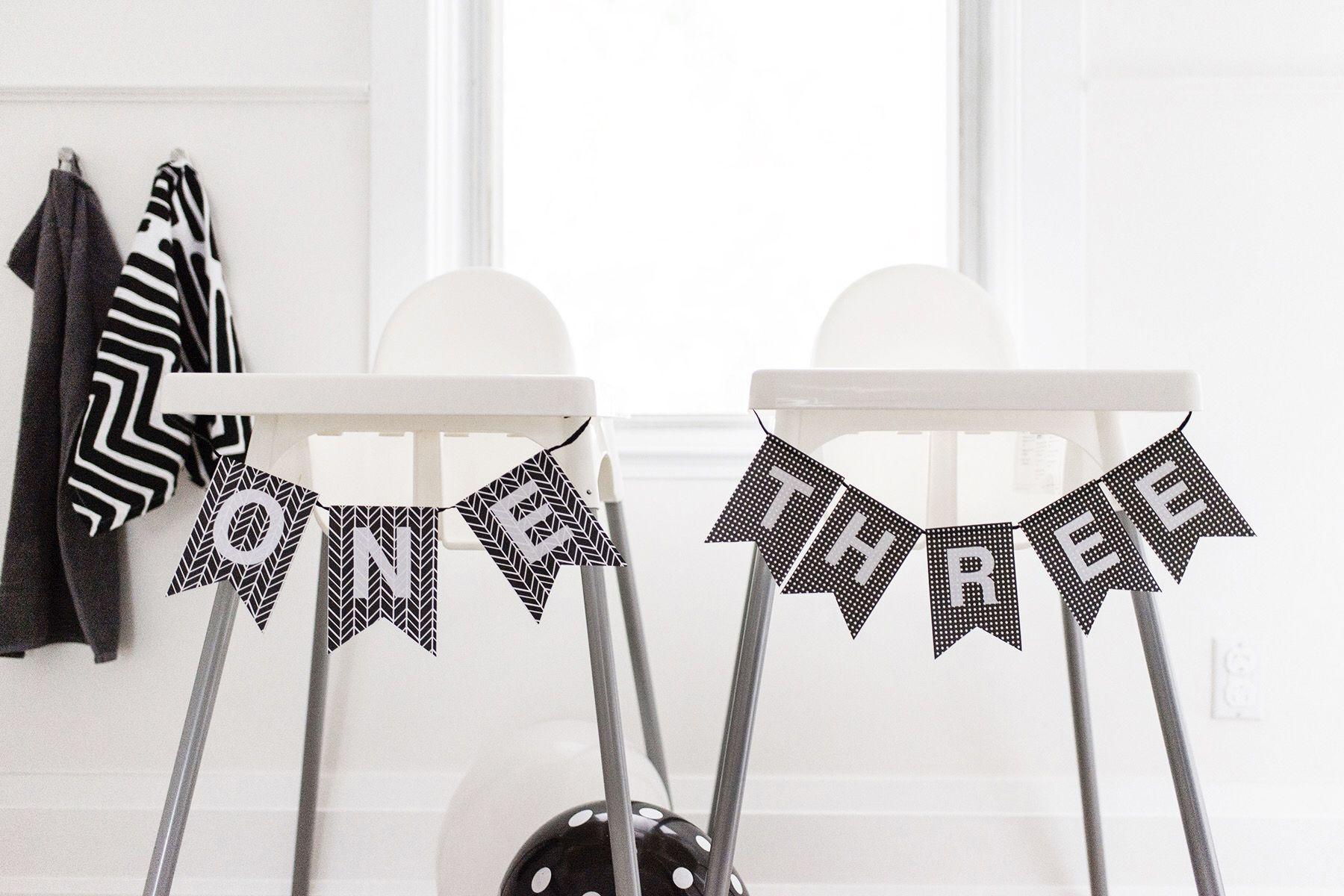 Kids birthday party high chair banner, black + white / monochrome ...