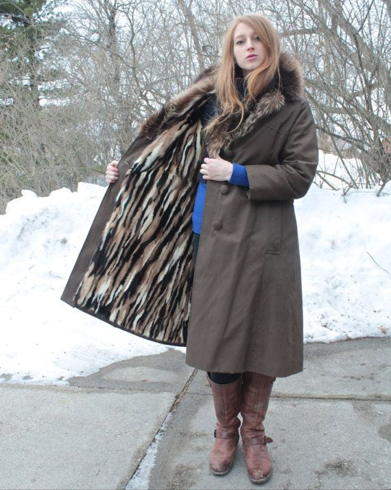 Mink Fur Lined TRENCH COAT Raccoon Collar RAINCOAT by HarlowGirls ...