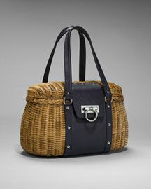 1308b8ab12f6 Salvatore Ferragamo Gancini Wicker Handbag