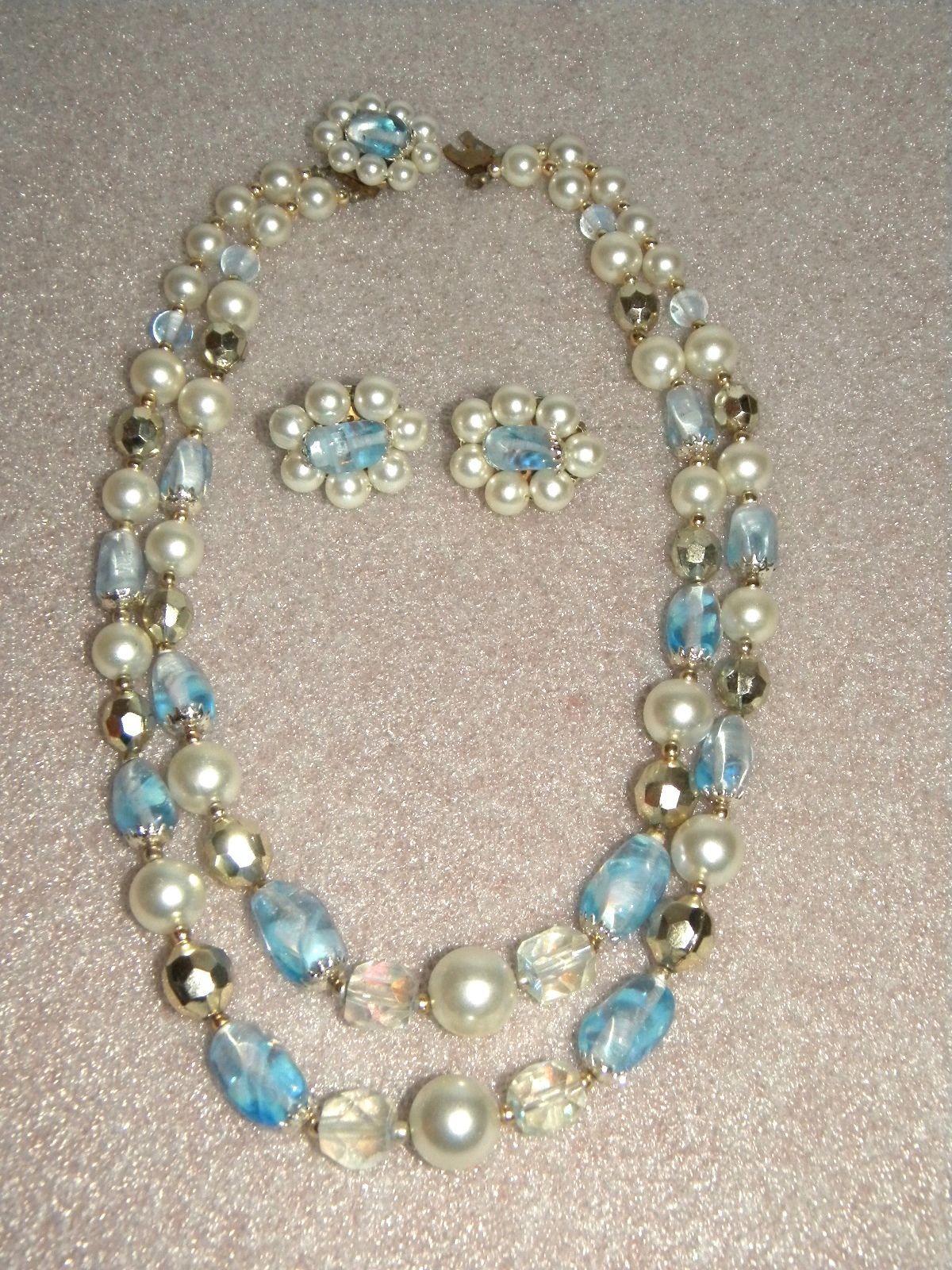 Demi Parure Bead Pearl Necklace Clip Earrings.  Delicate.