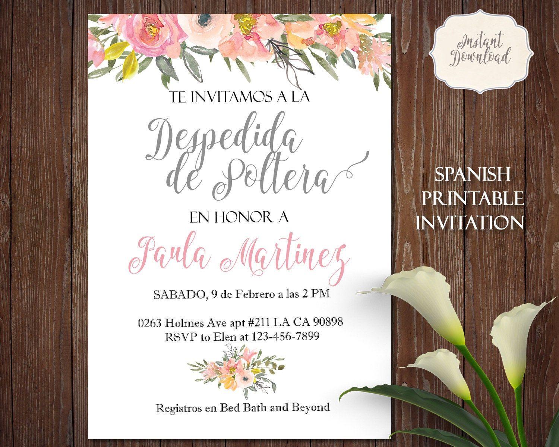 Despedida de soltera invitacion spanish bridal shower