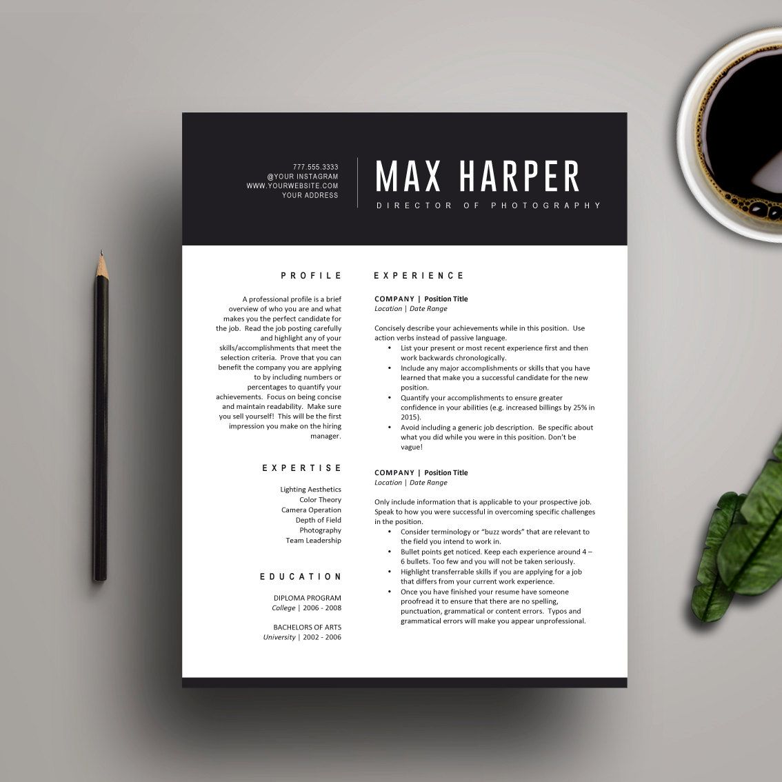 Cool Resume Templates Free Resume Template For Ms Word  Professional Resume Design Cover