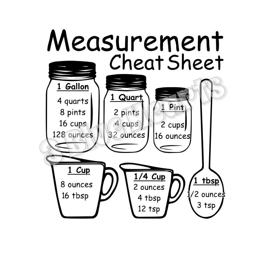 Measurement Cheat Sheet SVG Studio DXf pdf jpg png Cheat
