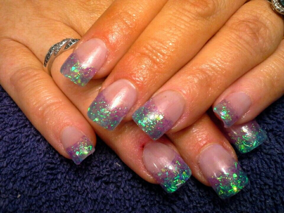Mermaids tail - Acrylic nails with aqua and purple glitter fade ...