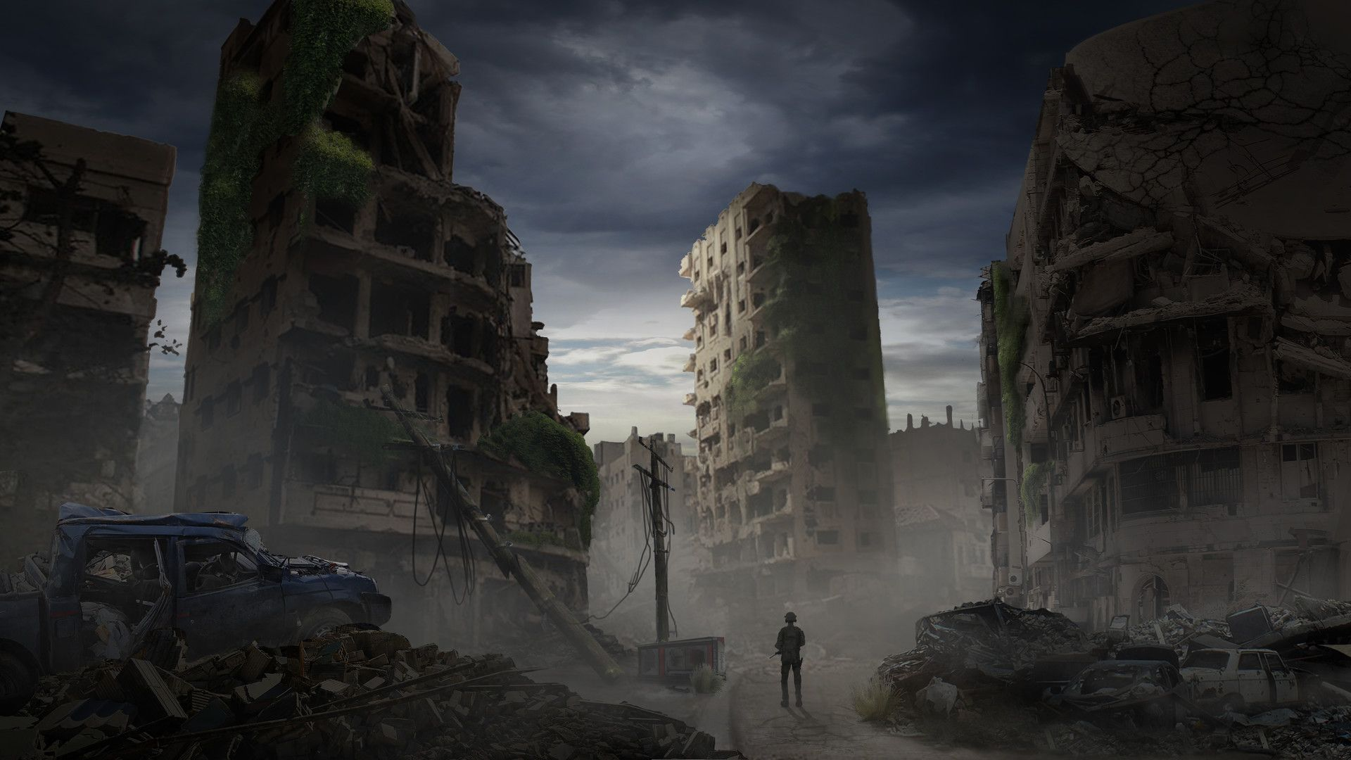 Destroyed City Annie Lau Apocalypse Aesthetic Cool Landscapes Anime Scenery