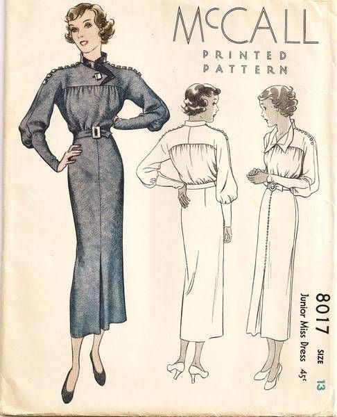 McCall 8017 | 1930s Junior Miss Dress | Vintage Pattern Love | Pinterest