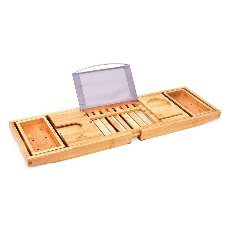 Bamboo Bathtub Tray Expandable Caddy with Reading Rack