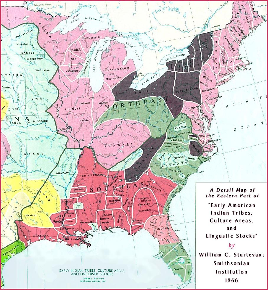 A Detail Map Of The Eastern Part Of Early American Indian Tribes - Us map 1836
