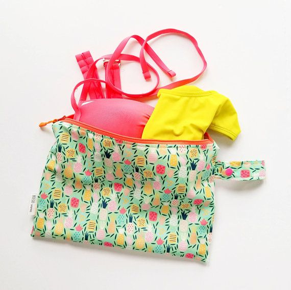 Pineapple Wet Bag Bikini Bag Diaper Clutch Reusable Produce Bag