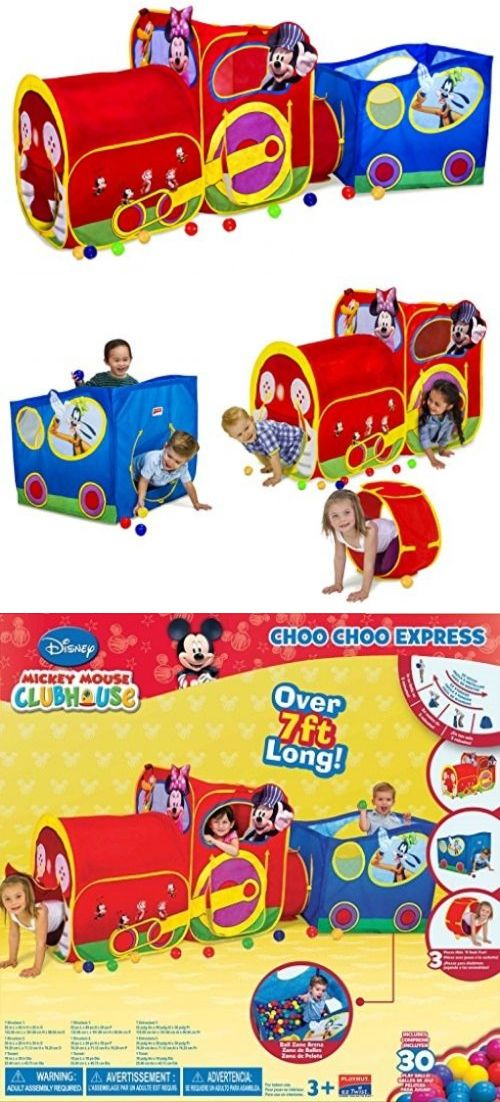 Play Tents 145997 Playhut Mickey Mouse Train Interactive Adventure Play House Ball Pit Tunnel -  sc 1 st  Pinterest & Play Tents 145997: Playhut Mickey Mouse Train Interactive ...