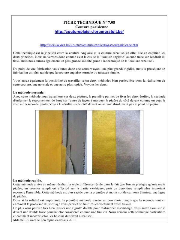 Exceptionnel FICHE TECHNIQUE N° 8 par lili - 7.08 coudre à la machine couture  LQ43