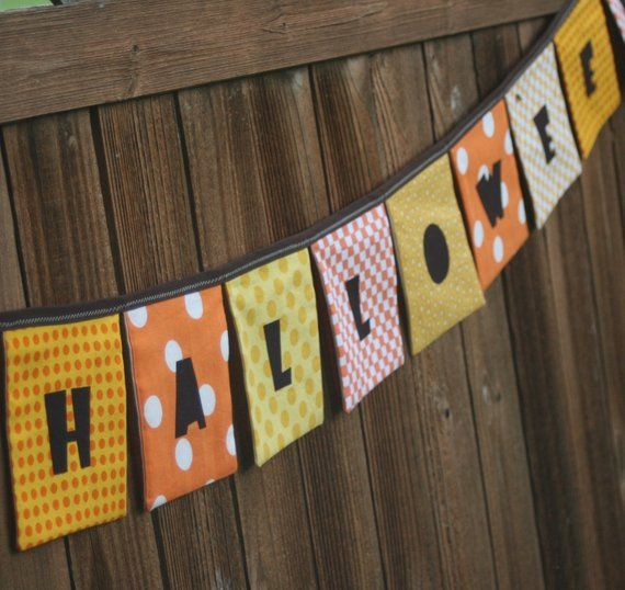 HAPPY HALLOWEEN Reusable Cloth Fabric Banner