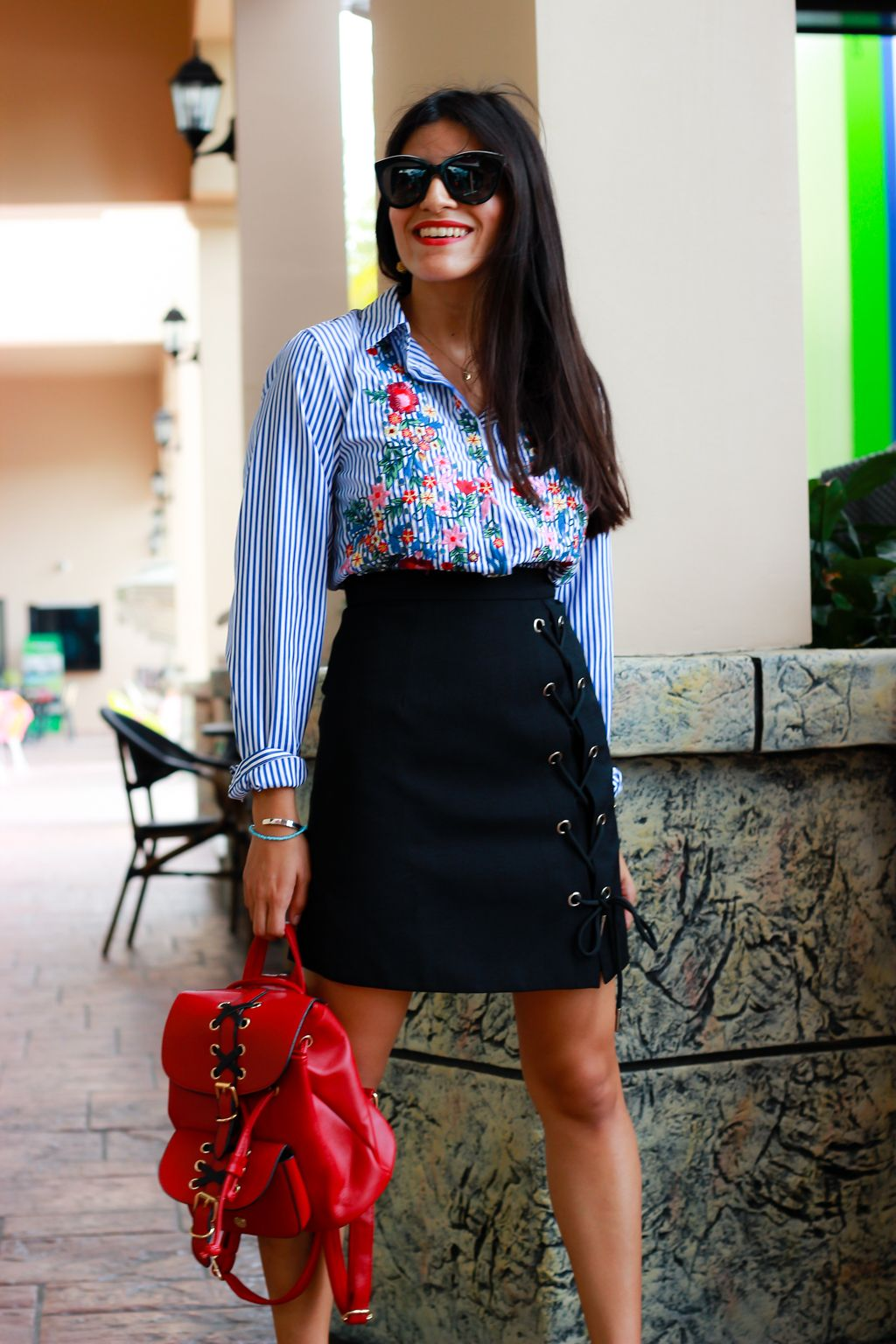 Great work outfit idea | Chicwish shirt and Chicwish black skirt