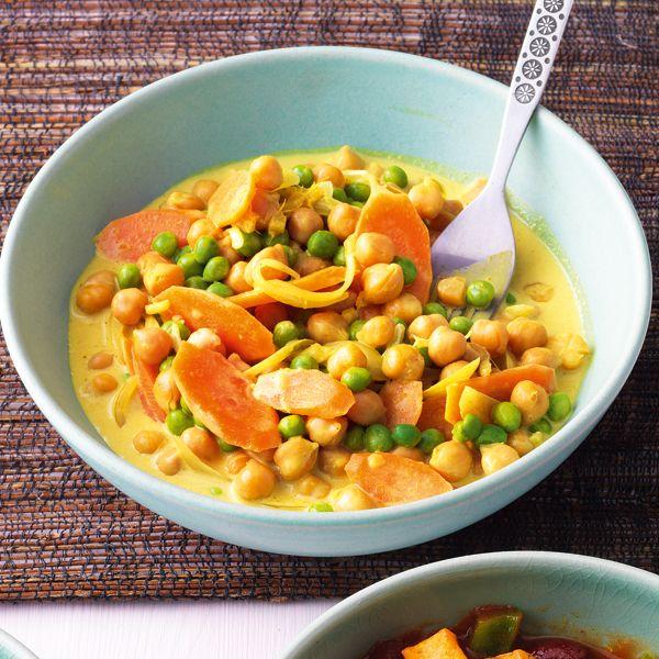 Schnelles Kichererbsen-Curry mit Kokosmilch