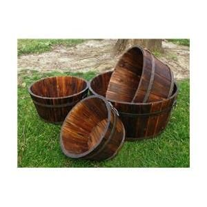 Shineco 5010BT Set of 4 Shallow Cedar Barrel Planters - Burnt Brown