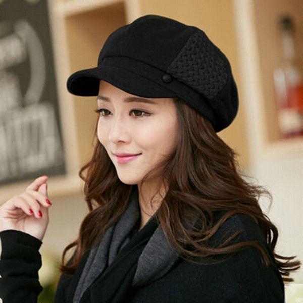 3b2f817df92 Fashion wool newsboy cap for women beret winter hats