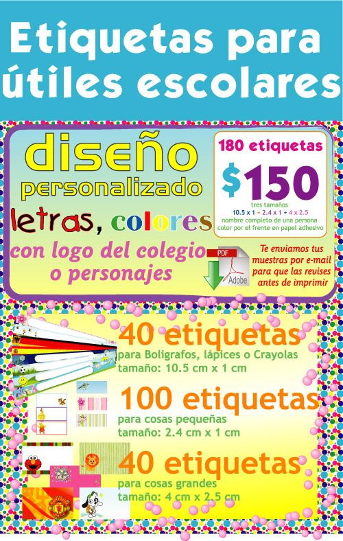 Etiquetas Para útiles Escolares Panda Party School Back To School
