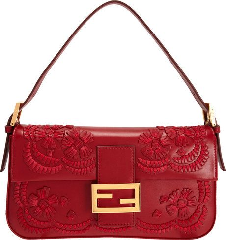 d933bd2395 Fendi Red Stitched Leather Flowers Baguette Bag | FASHION in 2019 ...